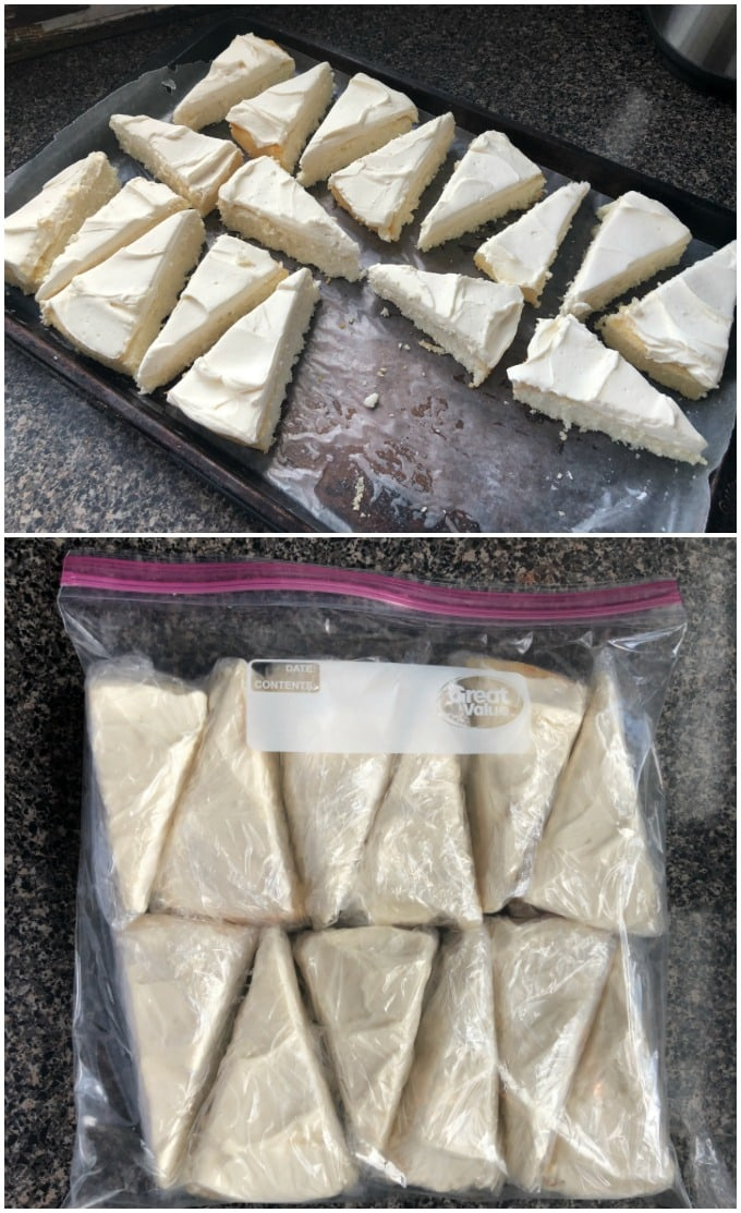 white cake slices on a jelly roll pan, frozen cake slices in a freezer bag