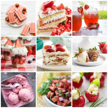 collage of strawberry recipe photos