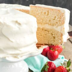 slice of white cake being removed with spatula