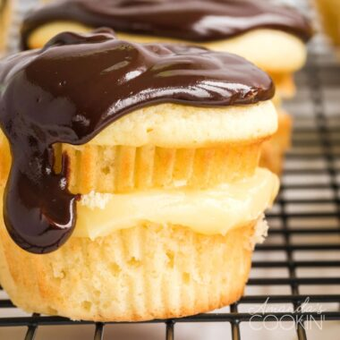 close up of boston cream cupcake