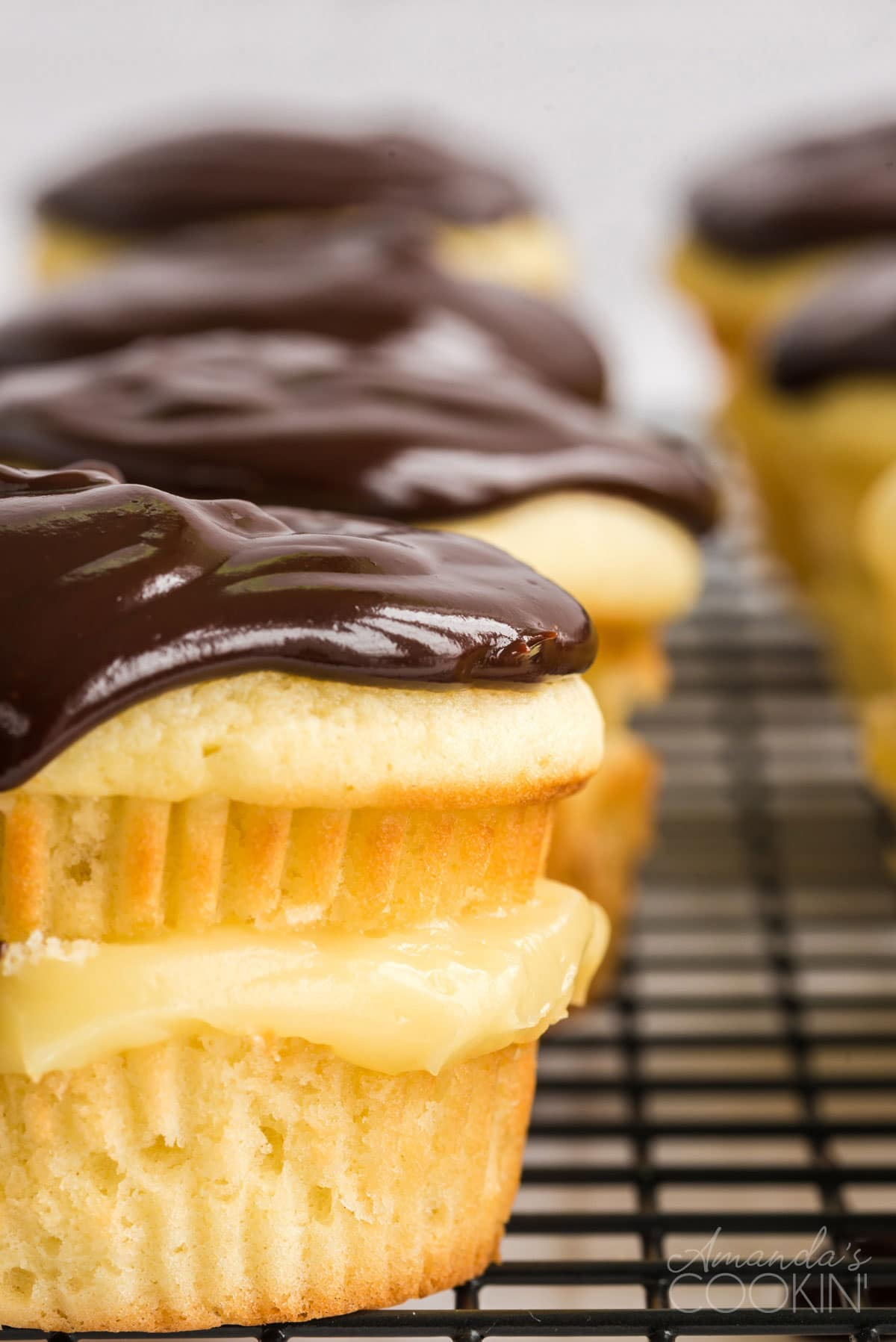 close up of Boston cream pie cupcake with chocolate topping