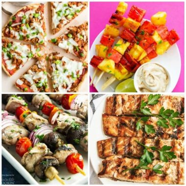 A bunch of different types of grilled food