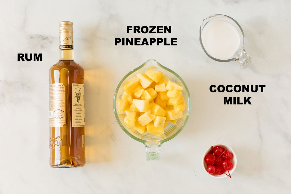 labeled ingredients for pineapple rum slush