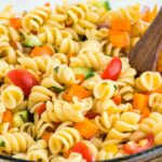 close up of pasta salad in a bowl