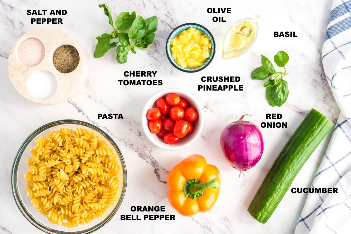 ingredients for summer pasta salad