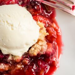 rhubarb cobbler or crumble topped with ice cream