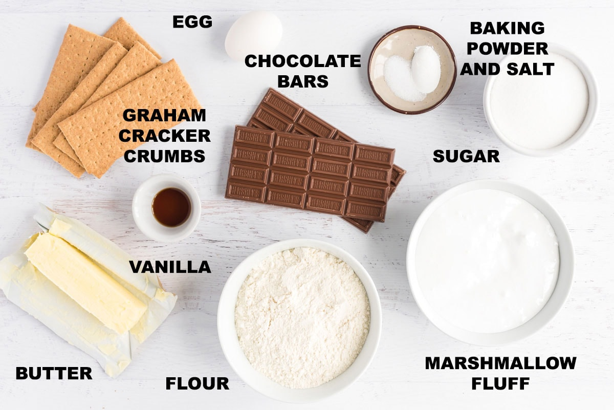 labeled ingredients for smores bars