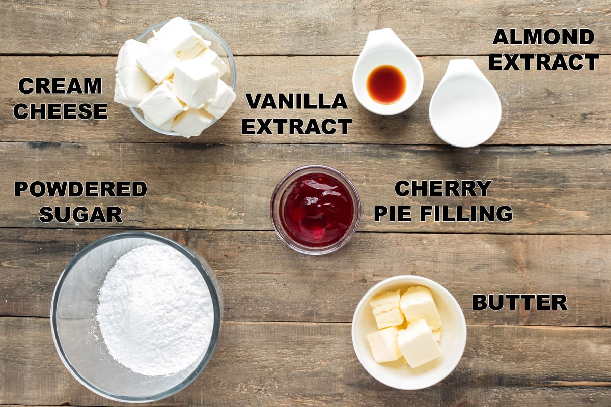 labeled ingredients needed for cherry cake frosting
