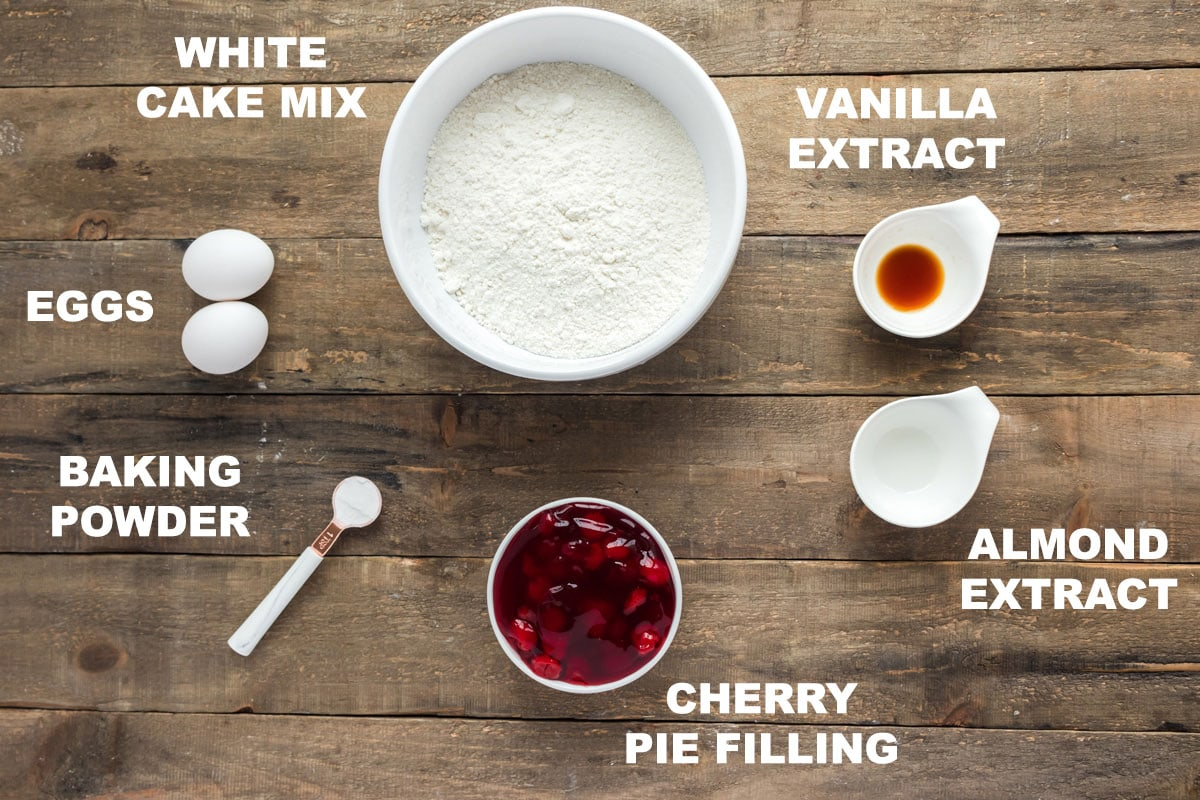 labeled ingredients needed for cherry cake