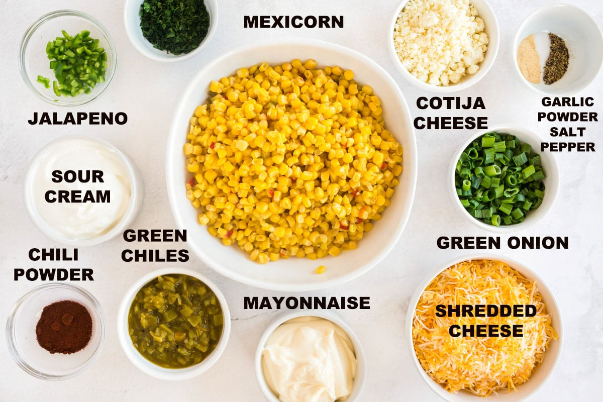 labeled ingredients for corn dip