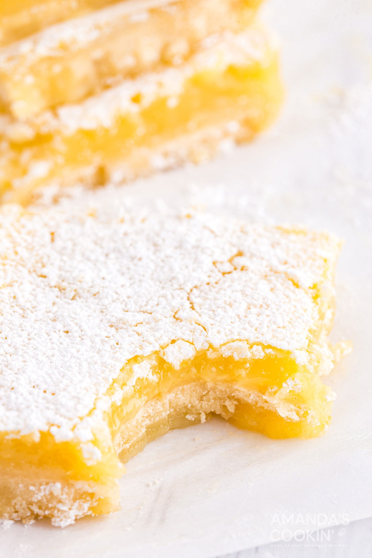lemon bar with a bite out of it