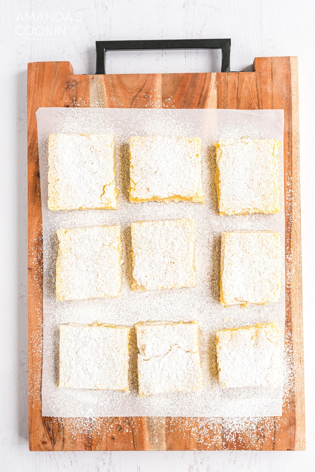 overhead view of lemon bars on a cutting board