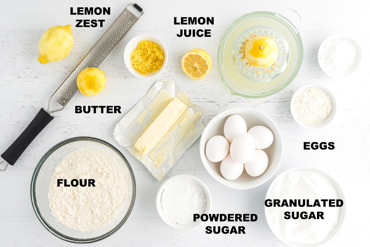 labeled ingredients for lemon bars