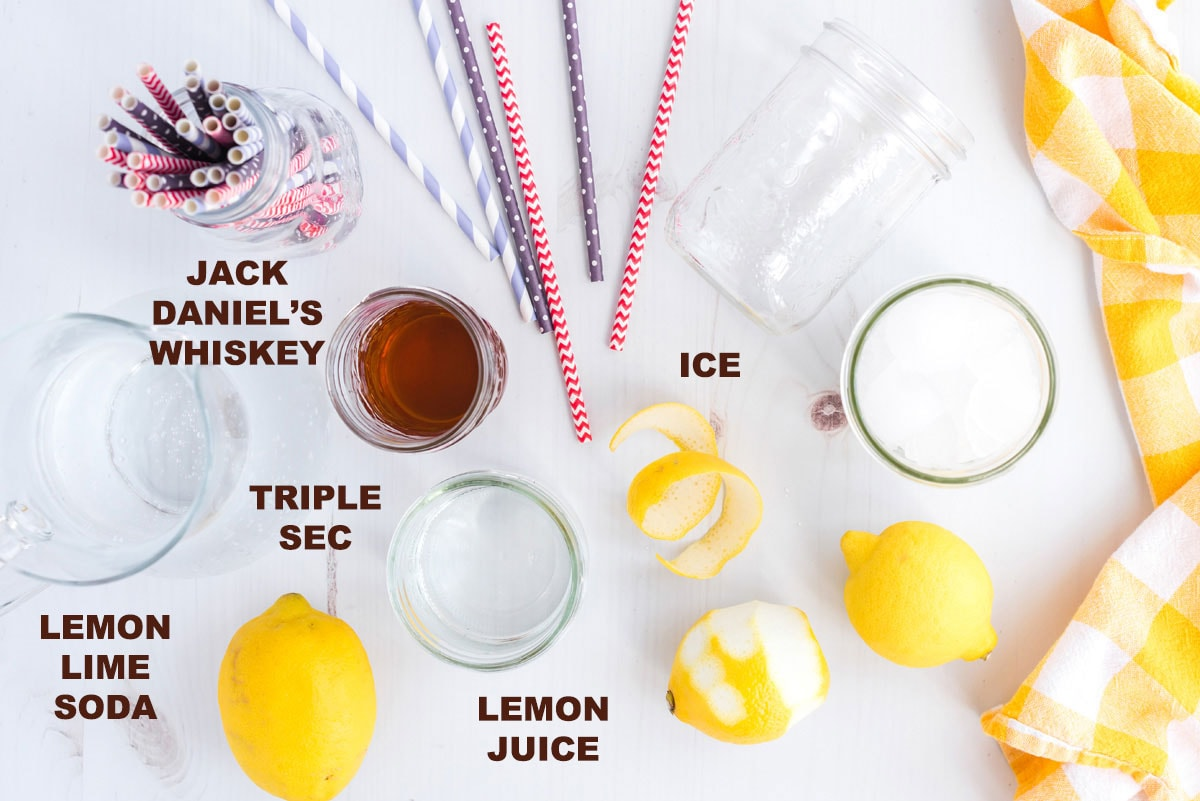 labeled ingredients for a Lynchburg Lemonade cocktail