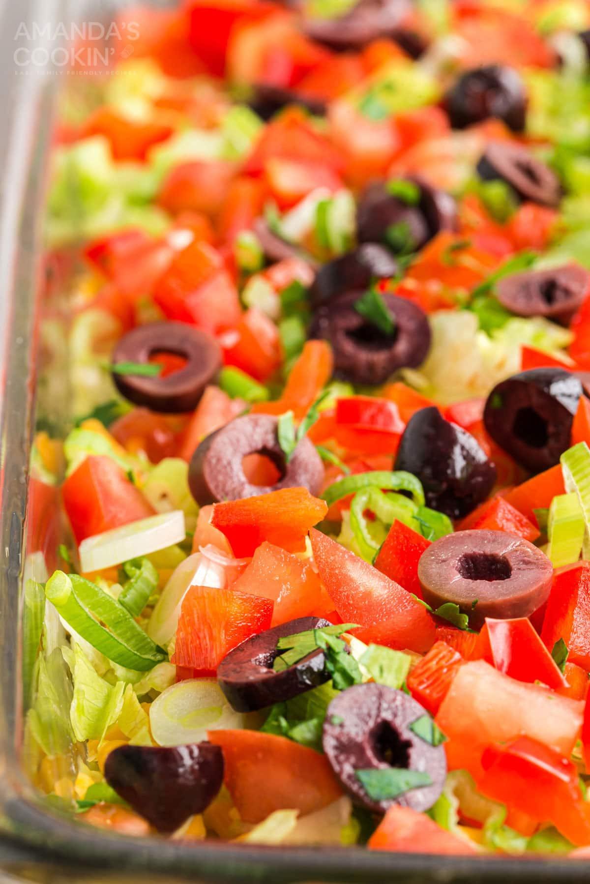 close up of taco dip