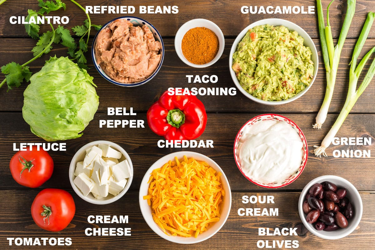 labeled ingredients for taco dip