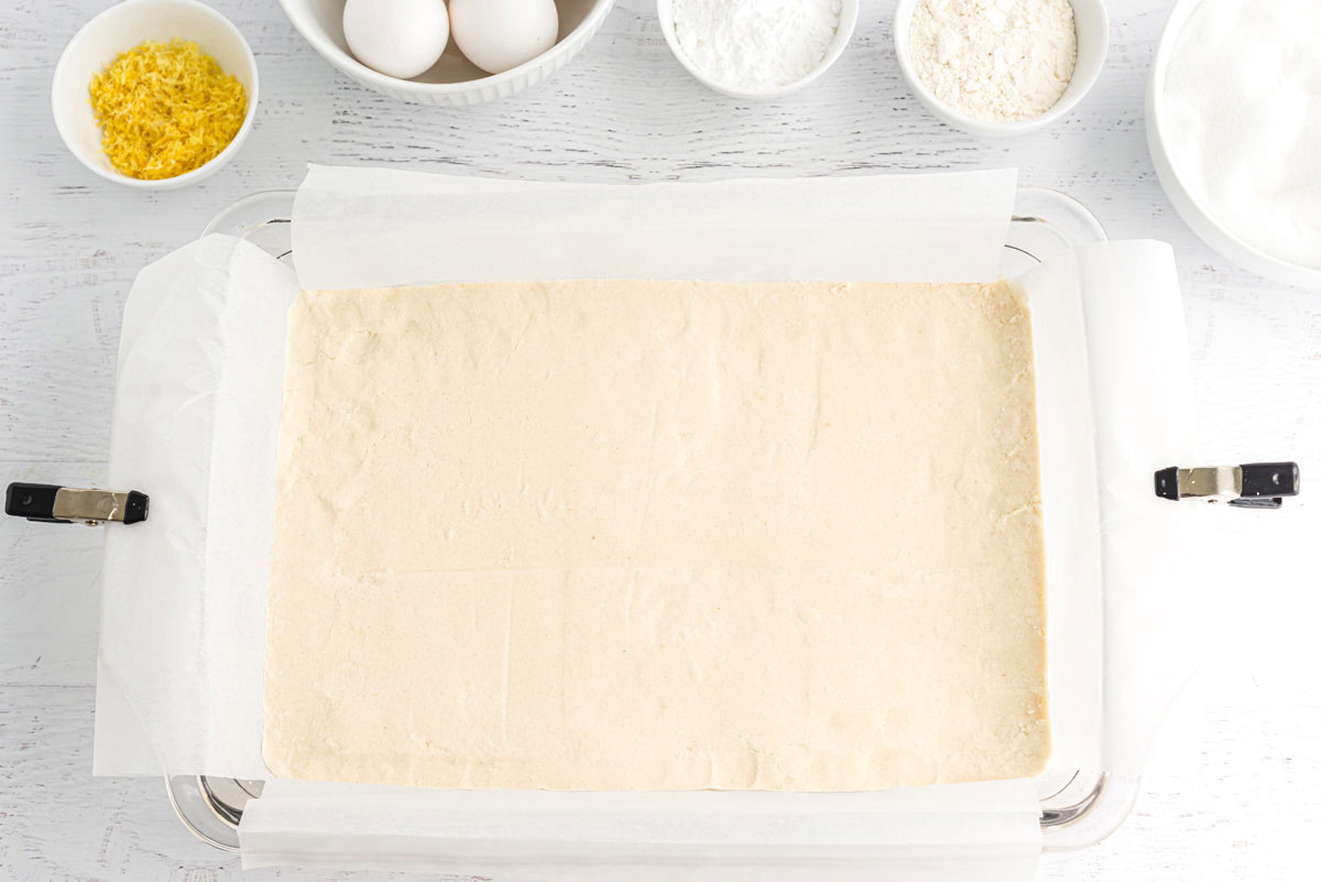 shortbread mixture patted into a crust