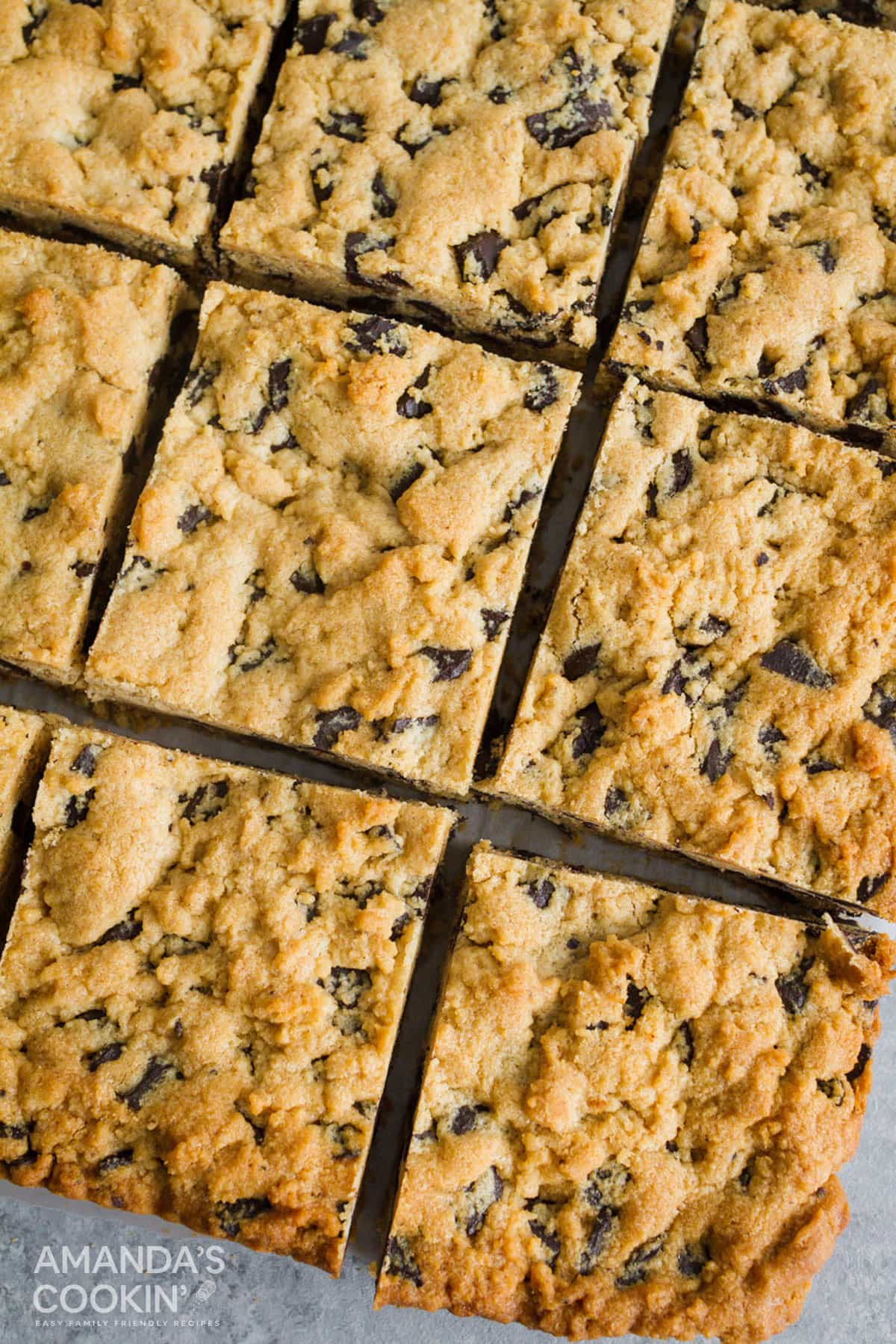 overhead photo of chocolate chip bars