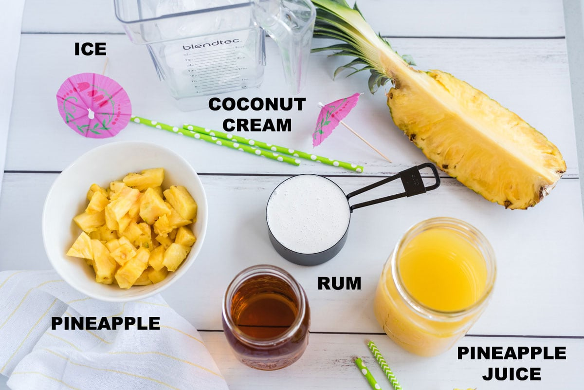 labeled ingredients for pina colada
