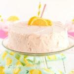 pink lemonade cake on a cake plate