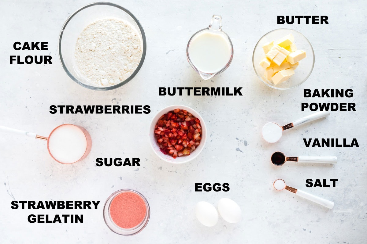 labeled ingredients for strawberry cake