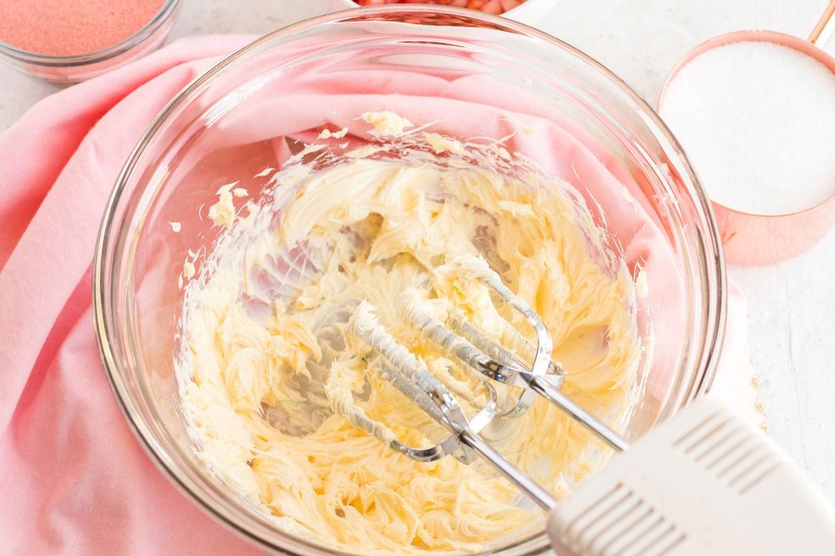 beaten butter in a bowl