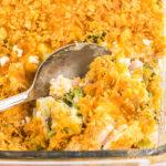 spoon in a Make Chicken Broccoli Rice Casserole