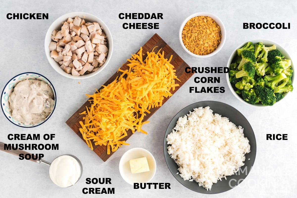 labeled ingredients for Chicken Broccoli Rice Casserole