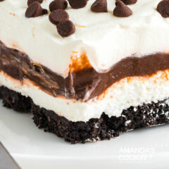 close up of chocolate lasagna