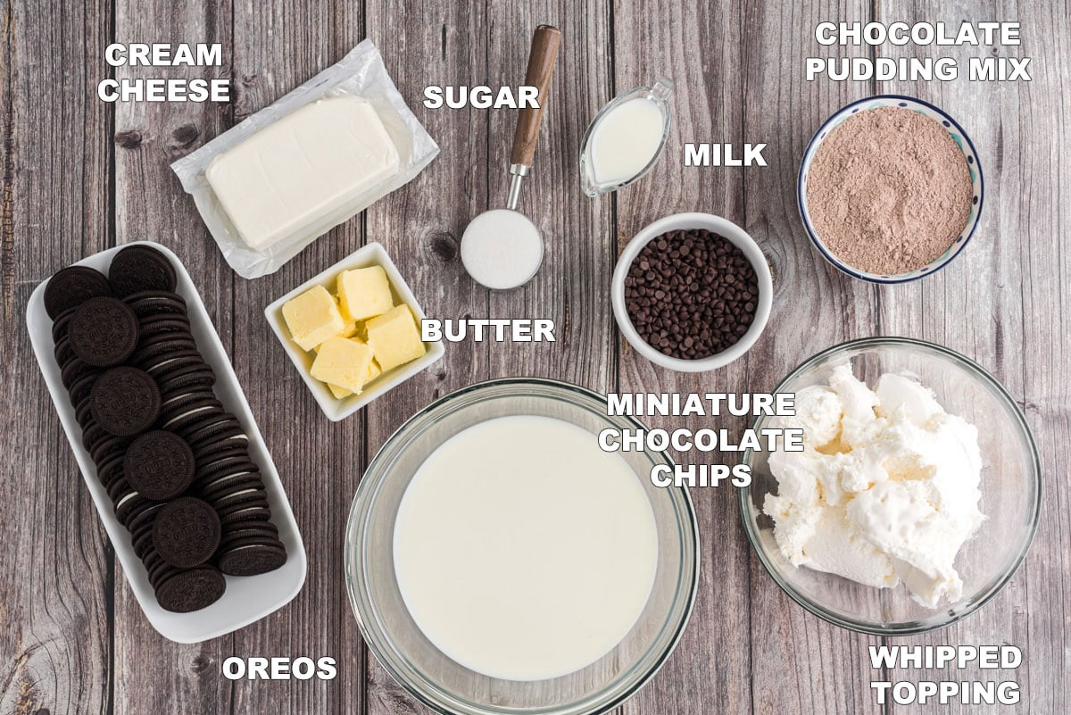 labeled ingredients for chocolate lasagna