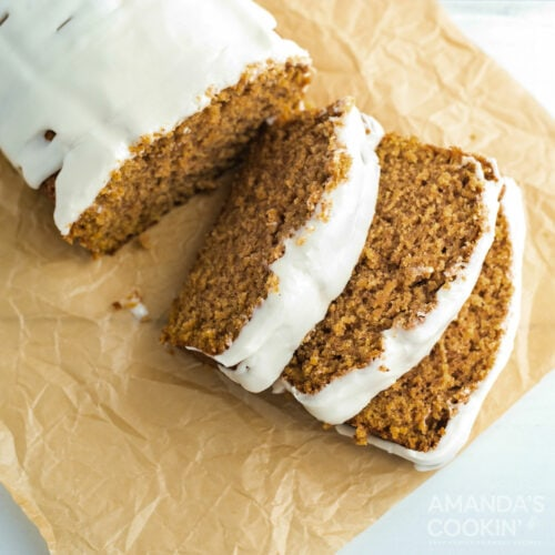 sliced cantaloupe quick bread