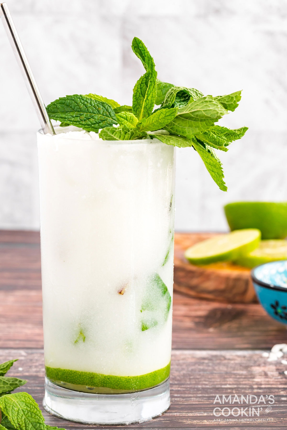 glass of mojito made with coconut rum