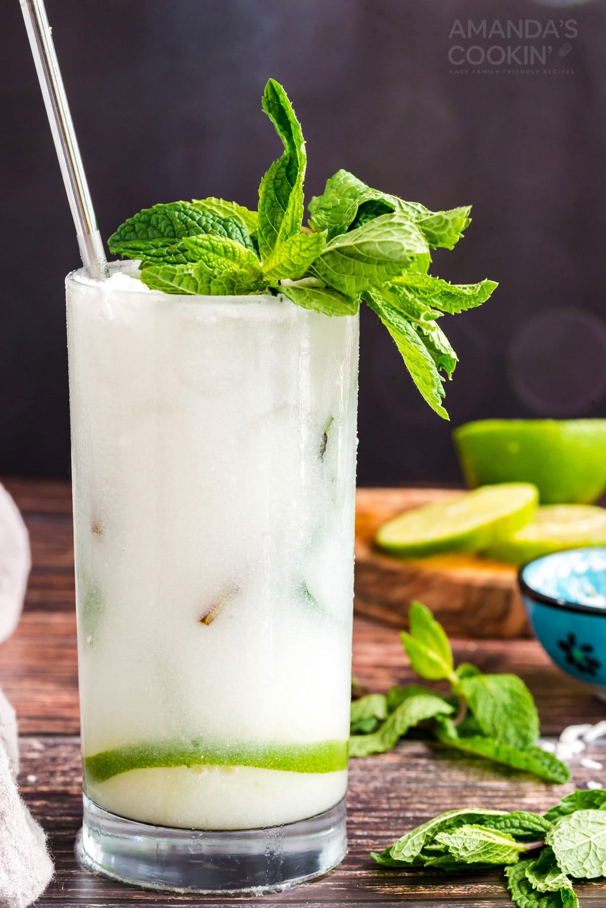 mojito in a glass made with coconut rum and coconut cream