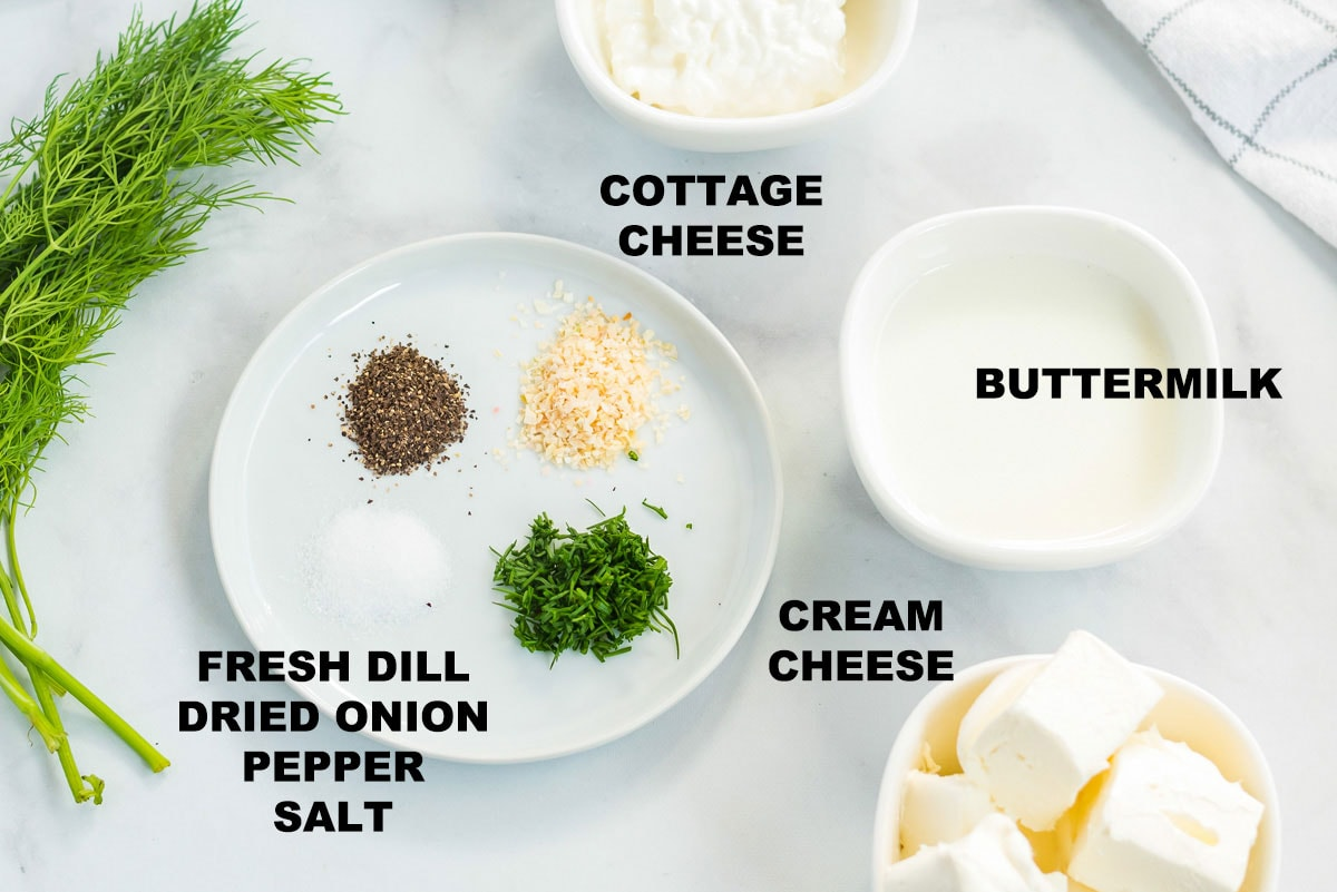 labeled ingredients for homemade dill salad dressing