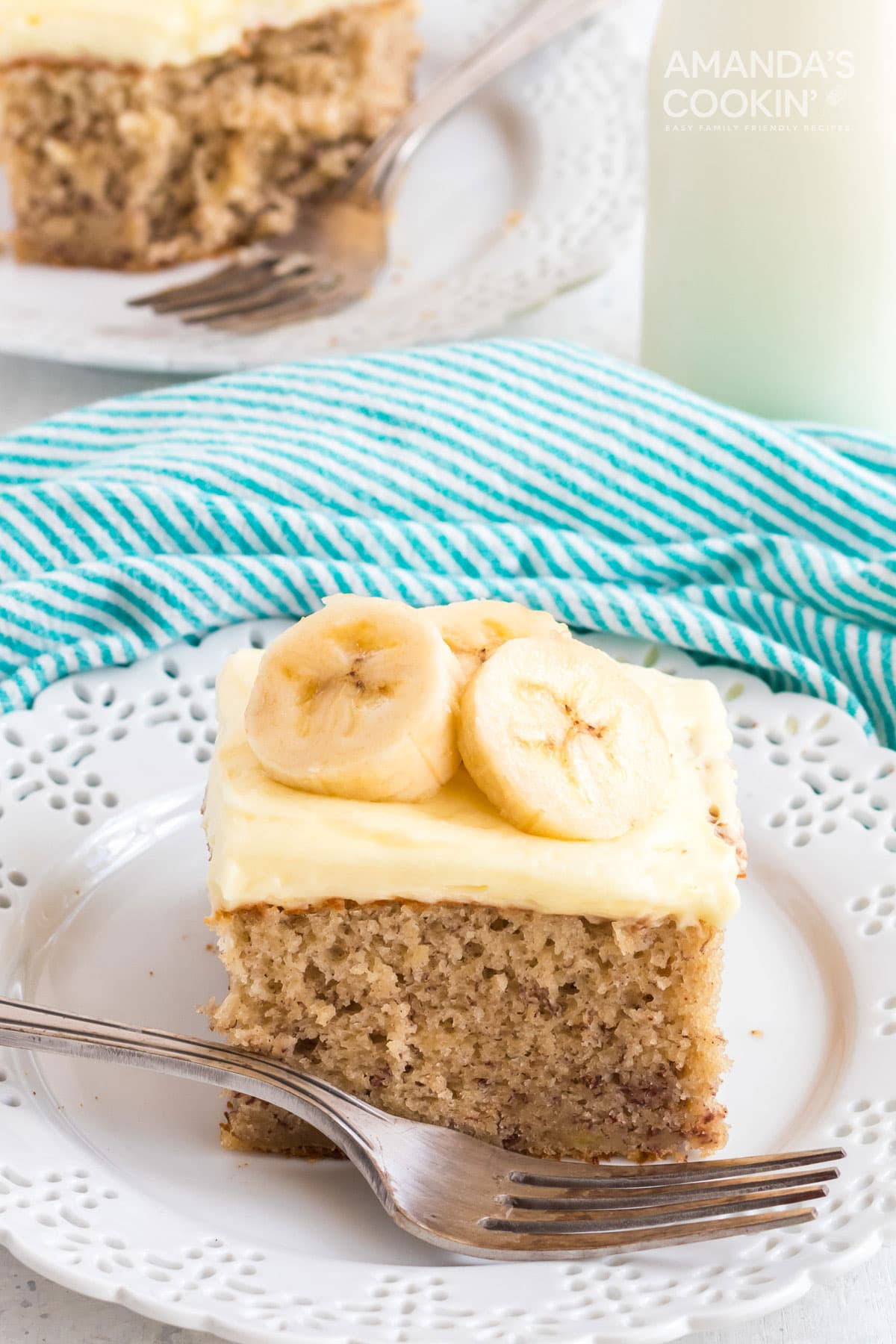 slice of banana cake on white plate