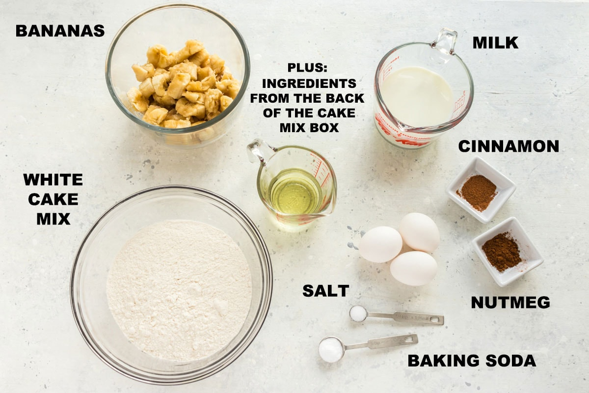 labeled ingredients for banana cake