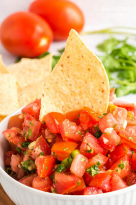 salsa fresca with a tortilla chip