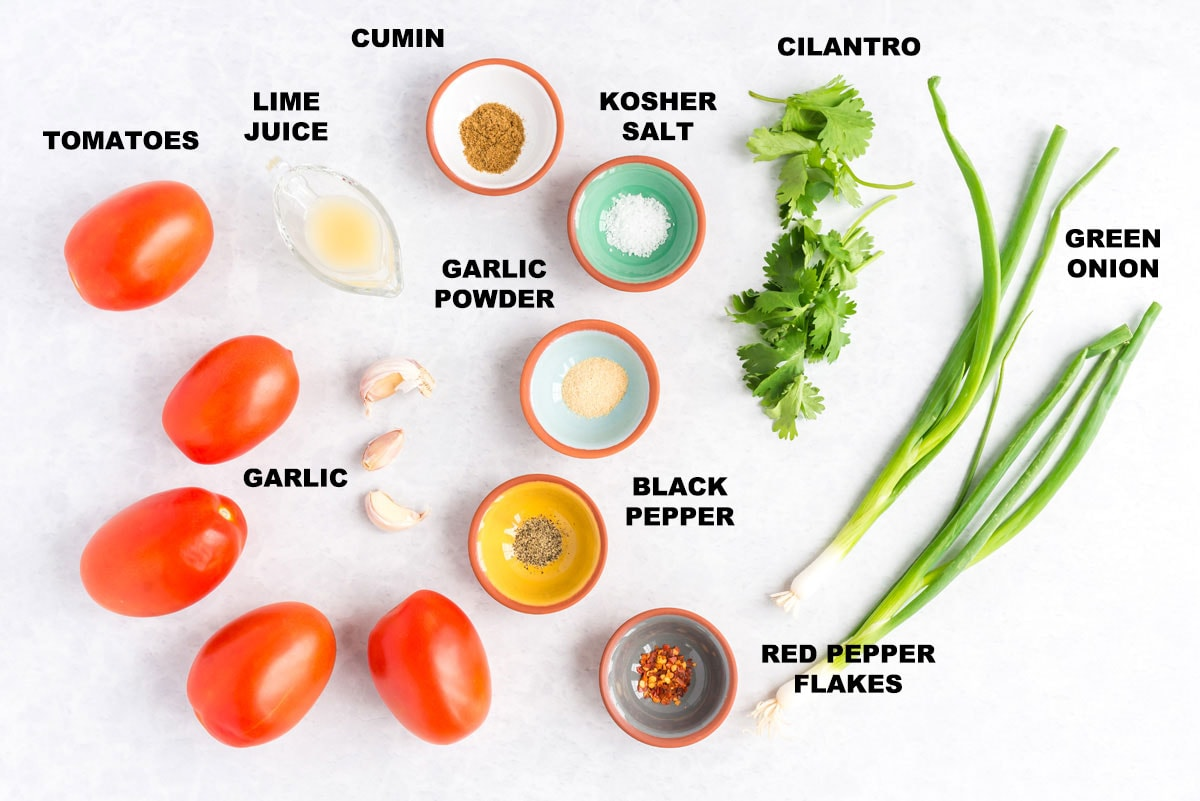 labeled ingredients for salsa fresca