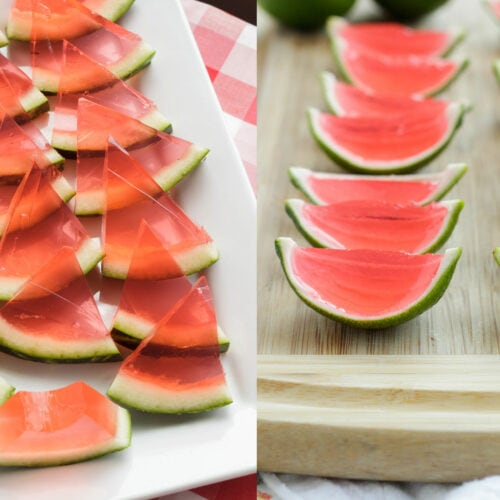 two photos side by side showing watermelon jello shots - one made with watermelon rind and the other with lime rind