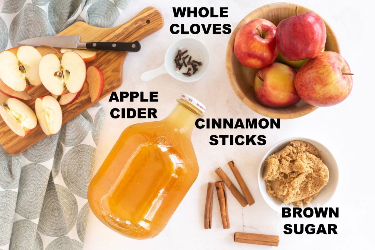 labeled ingredients for hot apple cider