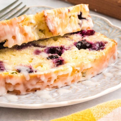 sliced lemon blueberry zucchini bread