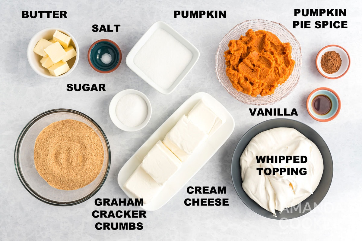 labeled ingredients for no bake pumpkin cheesecake