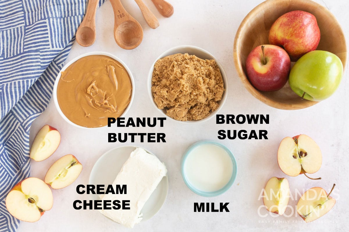 labeled ingredients for peanut butter apple dip