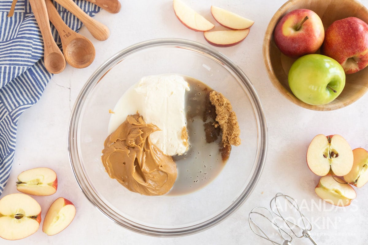 peanut butter and cream cheese in a bowl