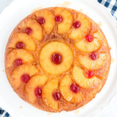 pineapple upside down cake on a white plate