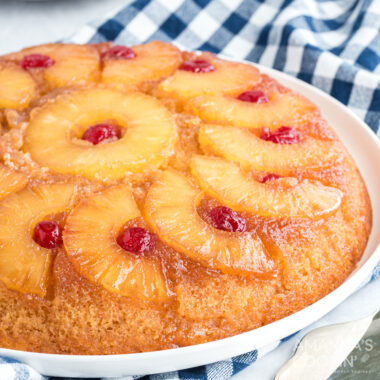 partial view of pineapple upside down cake