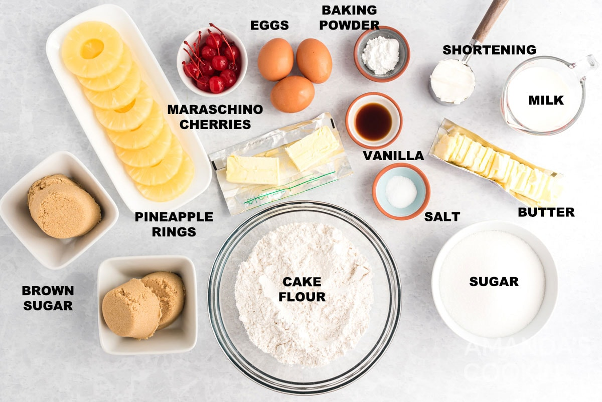 labeled ingredients for pineapple upside down cake