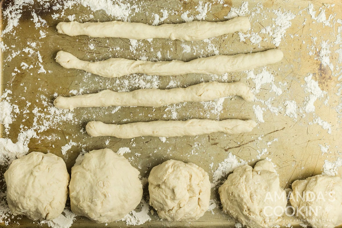 ropes of dough on cookie sheet