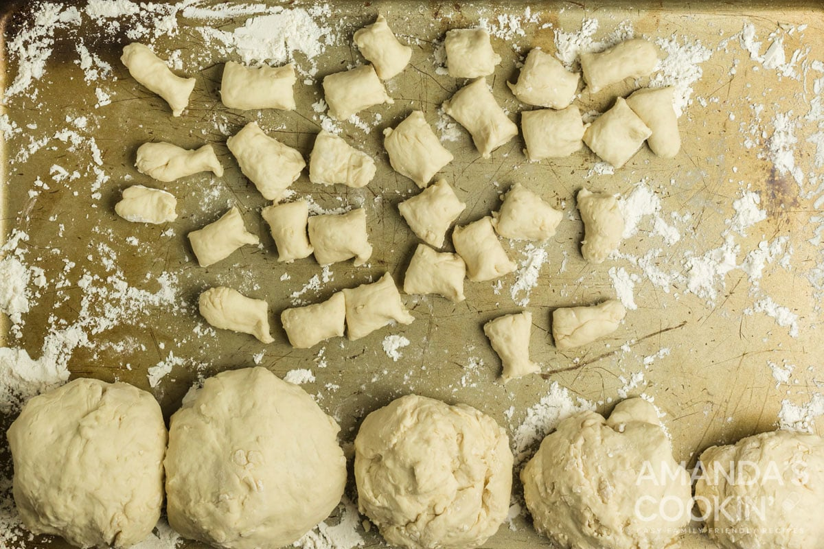 dough cut into small pieces