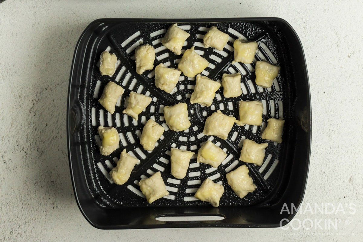 pretzel dough in air fryer basket
